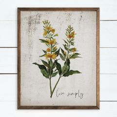 Live Simply Floral Wall Art