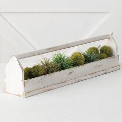 Long Rustic Wood Table Planter With Handle