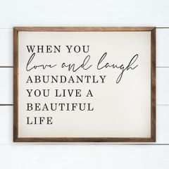 Love and Laugh Framed Wall Sign