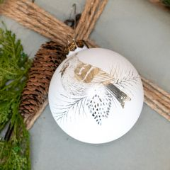 Lovely Etched Bird Ball Ornament Set of 2