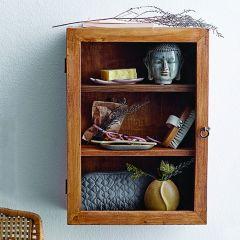 Glass Door Mango Wood Cabinet