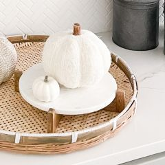 Marble and Wood Round Tabletop Riser