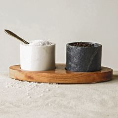 Marble Bowls and Brass Spoon Wood Tray