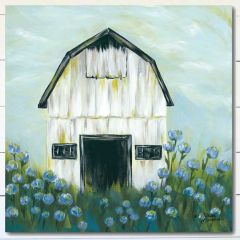 Barn Flowers Wrapped Canvas Wall Art