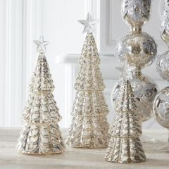 Mercury Glass LED Tree With Star on Top Set of 3