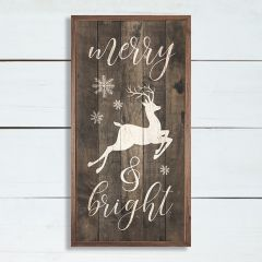 Merry And Bright Framed Rustic Wall Sign