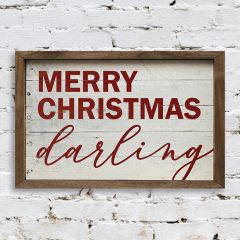 Merry Christmas Darling Framed Wall Sign