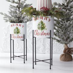 Merry Christmas Pot on Stand Set of 2