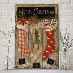 Merry Christmas Stockings Wall Art