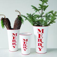 Merry Holiday Flower Bucket Set of 3