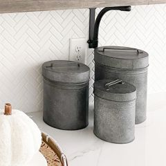 Metal Containers With Lids and Handles Set of 3
