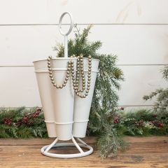 Metal Floral Stem Caddy With Handle