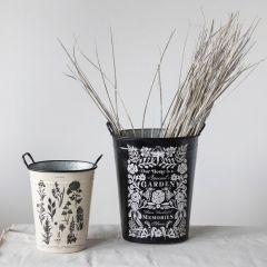 Metal Garden Print Buckets Set of 2