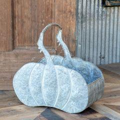 Metal Pumpkin Basket Planter