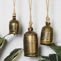 Metallic Bronze Bell Windchime Set of 3
