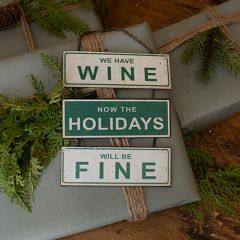 Miniature We Have Wine Holiday Sign Set of 2