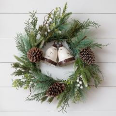 Mixed Pine Wreath With Berries and Bells