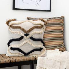 Modern Farmhouse Fringe Pattern Throw Pillow