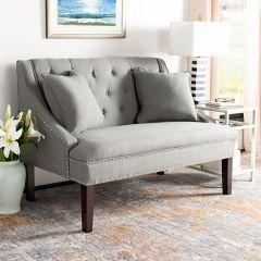 Modern Linen Settee With Pillows