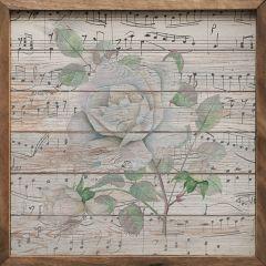 Music Flower White Framed Wall Art