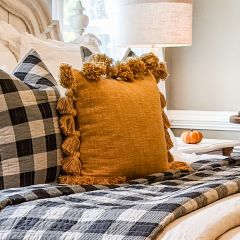 Mustard Tasseled Slub Pillow