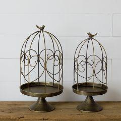 Muted Brass Pedestal Birdcage Set of 2