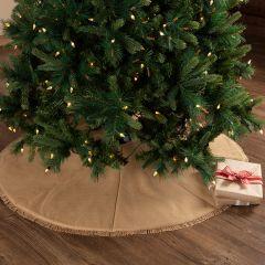 Natural Fringed Burlap Tree Skirt 48 Inch
