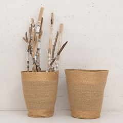 Natural Seagrass Basket With Gold Accent Set of 2