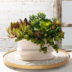 Neutral Ceramic Oval Planter