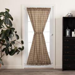 Neutral Plaid Door Curtain Panel
