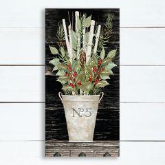 No. 5 Floral Vase Holiday Canvas Wall Art