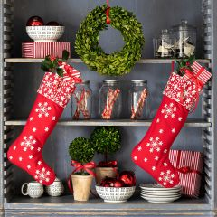 Nordic Christmas Embroidered Stocking