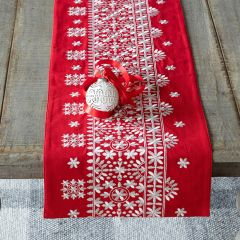Nordic Christmas Embroidered Table Runner
