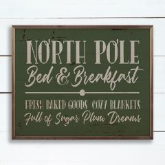 North Pole Bed And Breakfast Green Wall Sign