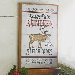 North Pole Reindeer Sign