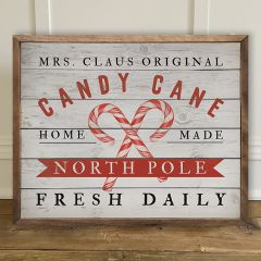 Original Candy Cane Framed Holiday Wall Decor
