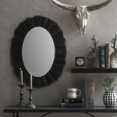 Oval Mirror With Distressed Metal Frame