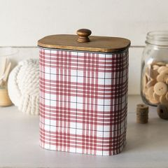 Oval Wood Top Storage Canister