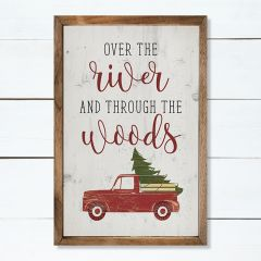 Over The River Red Truck Whitewash Wall Art