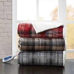 Oversized Plaid Heated Throw Blanket