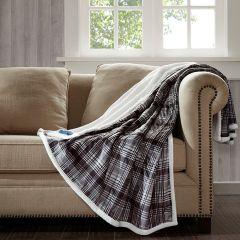 Oversized Plaid Heated Throw Blanket Grey