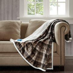 Oversized Plaid Heated Throw Blanket Brown