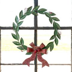 Painted Metal Holiday Leaf Wreath