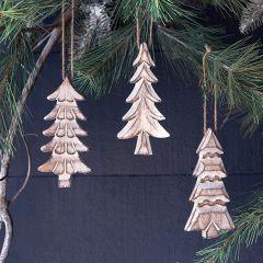 Painted Wood Fir Tree Ornament Bundle