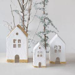 Paper Mache Village Houses Set of 3