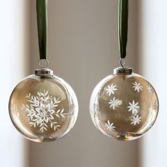 Patterned Smokey Glass Holiday Ornaments Set of 2
