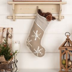 Pearl Button Snowflakes Stocking 20 Inch