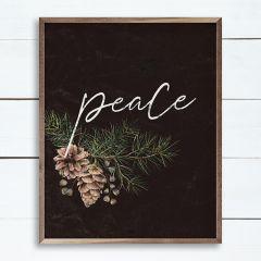 Pinecone Peace Branch Black Wall Art