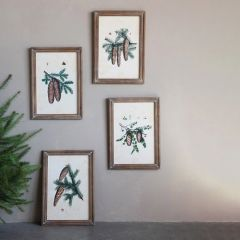Pinecones on Branch Framed Wall Decor Set of 4