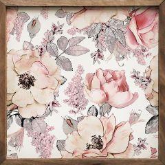 Pink Floral Print Framed Wall Decor